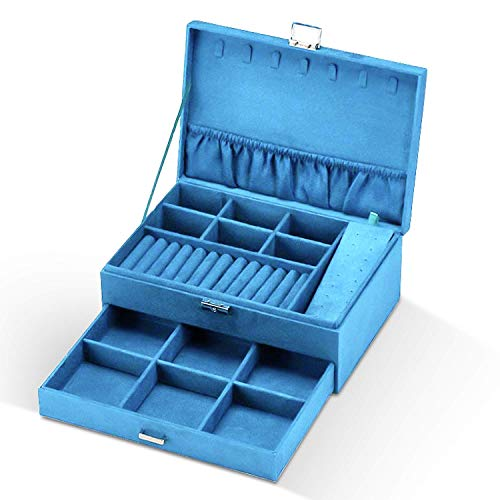 Caja Joyero para Mujer, Estuche Joyero Aterciopelado, Caja Organizadora de 2 Pisos, Caja de Joyas con Cerradura Joyero portátil de Jewelry Organizer para Pendientes, Collares, Relojes (azul)
