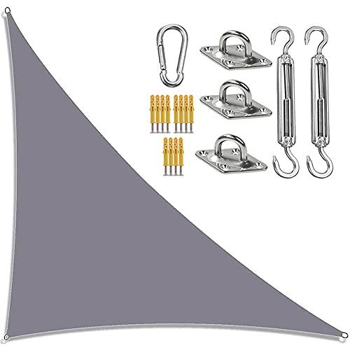 Toldo De Vela De Jardín,Sombra Triangular Sun Sail con Kit De Fijación,Toldos Impermeables con Bloqueador De Rayos UV Velas De Sombra En Ángulo Recto para Patios Al Aire Libre 4Mx4 Mx5,7M,Gris
