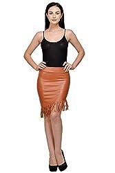 Fashion & Fusion Womens fake leather fringed skirt