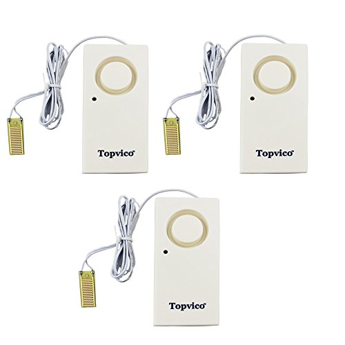 Topvico Water Leak Sensor Detector Flood Alarm 120dB Work Alone Battery Operated 3 Packs