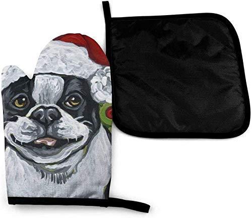 Qefgjbw Boston Terrier - Manoplas de horno y soportes para ollas, diseño de perro navideño con textura de madera, diseño de bandera del Estado de Dakota del Norte