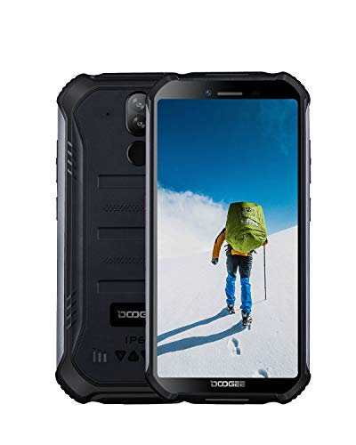 DOOGEE S40 4G Outdoor Handy Android 9.0 Dual SIM Smartphone ohne Vertrag, IP68 IP69K Wasserdicht, 3GB RAM + 32GB ROM, 4650mAh Akku 5.5 Zoll Bildschirm, 8MP+5MP, NFC Fingerabdruck Face ID Handy, Schwarz