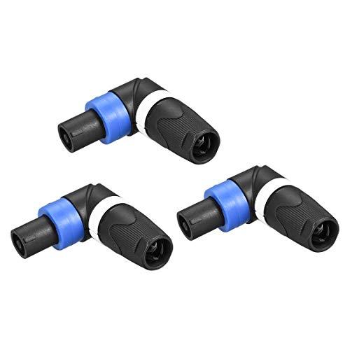 N/D SpeakOns - Conector adaptador macho para altavoz, 4 polos de ángulo derecho, conector de altavoz Twist Lock, compatible con los altavoces