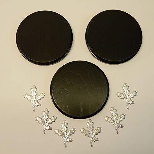 3 x Keilerschilder Keilerbrett Gewaffbrett Trophäenschild rund dunkel AF 13 cm mit 6 Stück Aluminium Eichenlaub Deckblatt