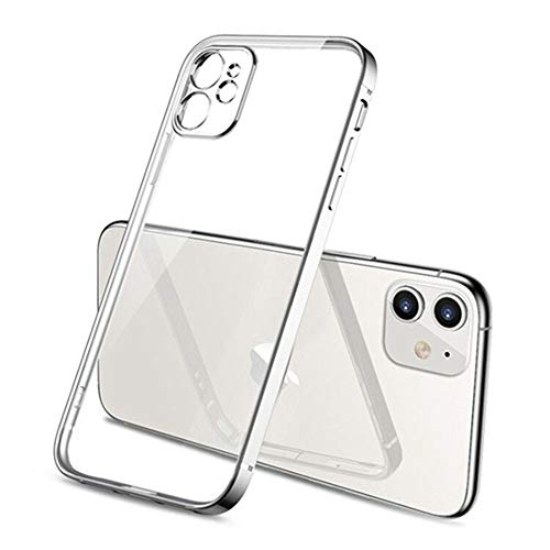 AAA&LIU Funda Blanda Cuadrada para iPhone 11 12 Pro Funda Transparente para iPhone 11 Pro MAX Funda de Silicona TPU Transparente de Lujo Transparente, Plata, para iPhone 8 Plus