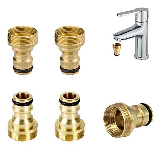 5PCS Hahnverbinder Messing,OSUTER Schlauchanschluss Wasserhahn mit Außengewinde Wasserhahnanschluss Set Universal Hahnanschluss für Garten Küche Wasserhahn