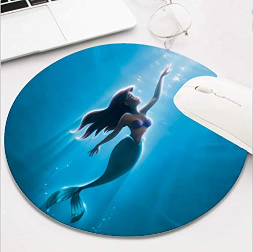 Round Gaming Ocean Little Mermaid Ariel Mouse Pad, Non-Slip Rubber Mousepad for Desktop Laptop Computer Keyboard,Funny Cute Office and Home Gift (8 Inch)