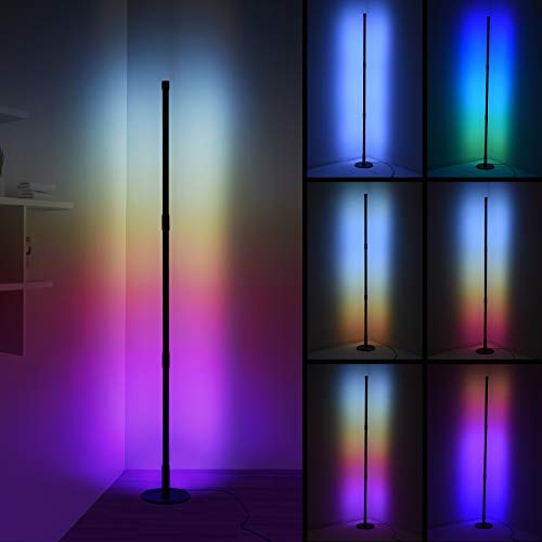 Ankishi Corner Floor Lamp, RGB Color Changing Floor Lamp, Nordic Corner Light Mood Lighting with Linkable Rods & Remote, 16 Million Colors Effects, Brightness & Speed Adjustable, 20W - Round Base