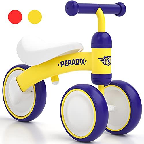 Peradix Bicicleta sin Pedales, Adecuado para Bebés de 10 a 36 Meses, Juguetes Triciclos Bebes y Niño,Correpasillos Bebe,Bici sin Pedales Niña y Niño (Amarillo)
