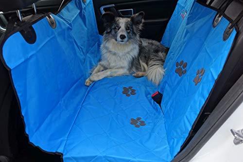 """Callieway Autoschondecke Woo"""" Hundedecke, Picknickdecke mit Flauschigen Pfötchen (blau)"""