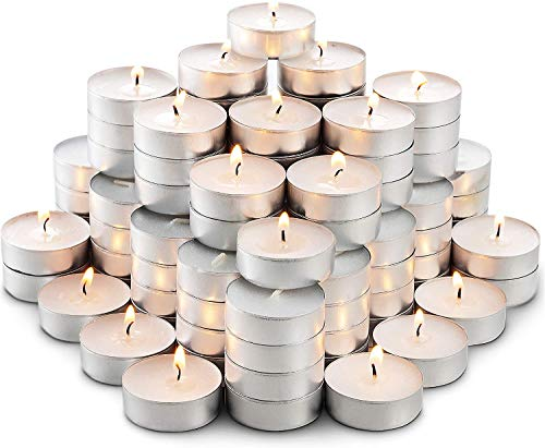 DIVCHI White Unscented Wax Tea Lights Candles with 4 Hour Burn Time Ideal for Wedding Holiday Party Home Decoration (100 Pack)