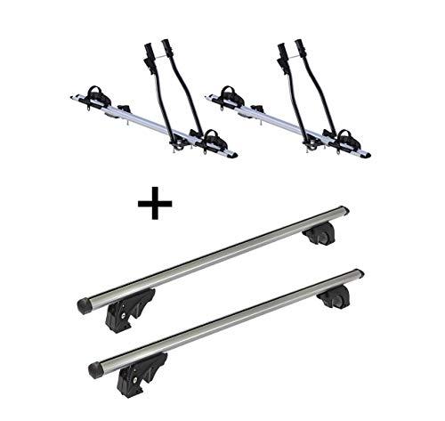 VDP 2X Fahrradträger SAGITTAR + Dachträger/Relingträger LION1 kompatibel mit Hyundai ix35 (5 Türer) 10-15