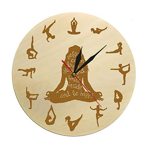 N/ A Yoga Pose Houten klok fitness Home Decor meditatie spirituele yoga stille niet-tikkende wandklok Yoga Studio Zen muurkunst