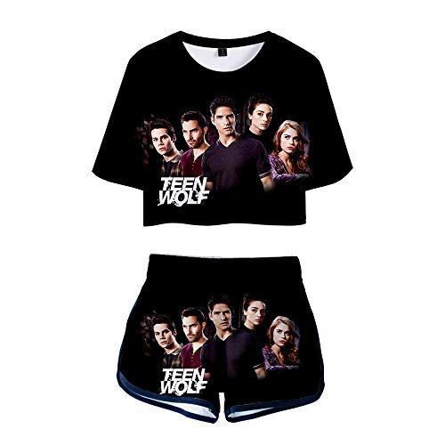 Jkjjerfhf Teen Wolf Pullover T-Shirt a Maniche Corte con Scollo a T-Shirt Slim Fit Tuta Sportiva Sexy da Donna Unisex (Color : A10, Size : S)