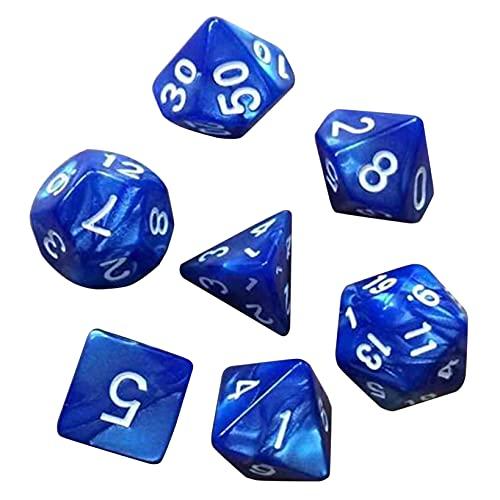 KYMLL 1 Sac Polyhedral Würfel Rollenspiel Gaming Tischspiel mit Taschen Matheunterricht,Blau