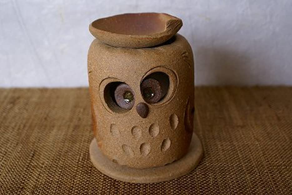 相反するファブリックバーゲン信楽焼 茶香炉 おすましふくろう サイズ:約直径8.5×9.5cm