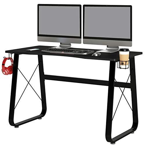 SixBros. Gaming Schreibtisch in schwarz, moderner Schreibtisch, Gamer Tisch, Arbeitstisch für Zuhause & Home-Office, 136 x 60 cm, GT-013/8396