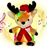 Housbaby Christmas Musical Light up Reindeer LED Stuffed Animals Rudolph Plush Toys Lullaby Singing Animated for Toddlers Xmas Gift Holiday, Brown, 13''
