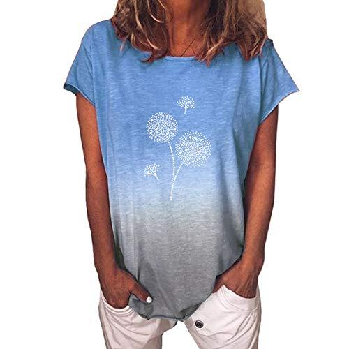 XOXSION Tshir - Camiseta de verano de manga corta para mujer, estilo informal, con cuello redondo, diseño de diente de león I azul claro. XL