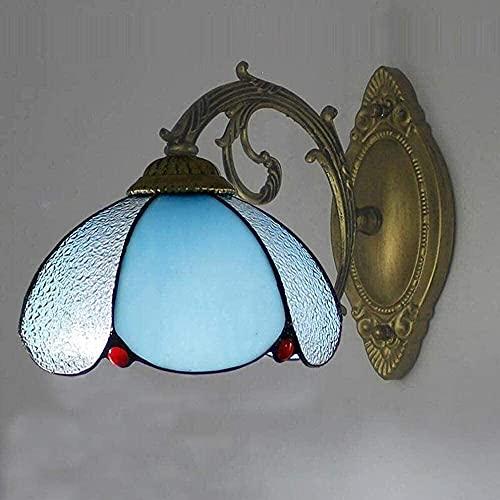 Linternas de pared Soporte Luz Walllight Aplique de pared Pantalla de vidrio manchado 8 pulgadas Baño Tocador Espejo Faros delanteros para sala de estar Dormitorio Decoración de pared Iluminación, a