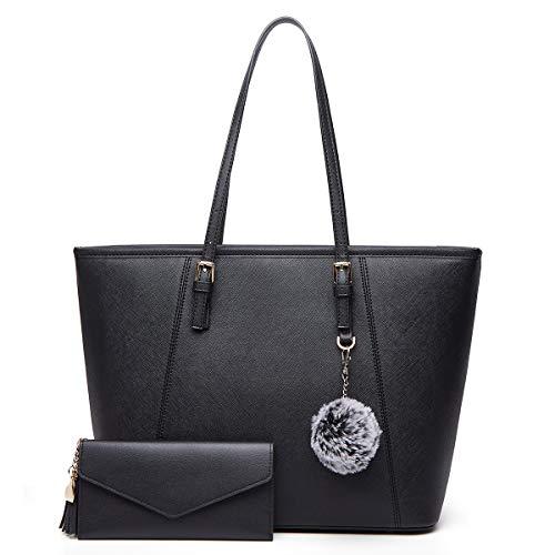 BestoU Damen Handtasche, Shopper Handtasche Schwarz mit Quastengeldbörse und Pelz Kugel Plüsch Schlüsselring, Elegante große Damenumhängetasche für Büro Schule Einkauf (Schwarz)