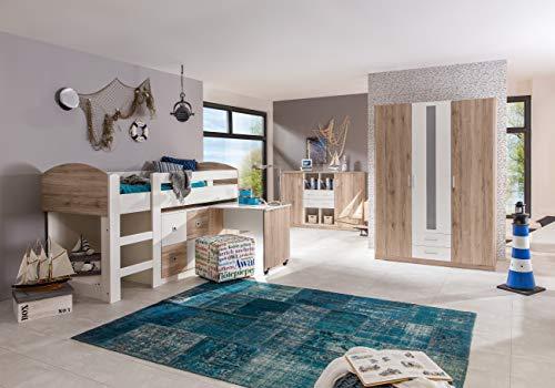 Komplett Kinderzimmer Set Sanremo Eiche Jugendzimmer Kleiderschrank Hochbett