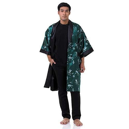 Princess of Asia Japanischer Wende-Kimono Satin Morgenmantel für Damen & Herren mit Drachen-Stickerei Grün
