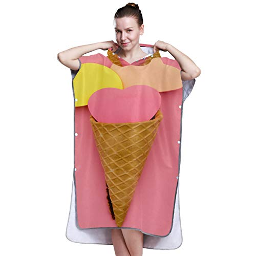 Yushg Girl Fashion Art Ice Cream Towel Poncho for Women Towel Change Robe Surfing Towel Poncho Men for Surfing Swimming Bathing One Size Fit All