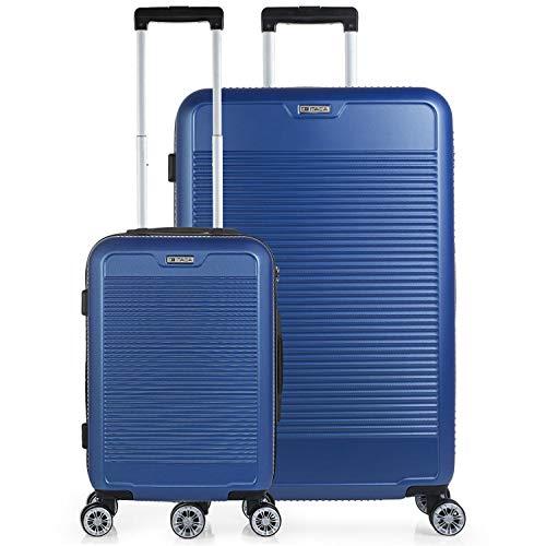 ITACA - Juego de Maletas de Viaje rígidas 4 Ruedas Dobles Trolley abs. duras cómodas s y Ligeras. 2 tamaños: pequeña de Cabina y Grande. Calidad diseño y Marca. t72017, Color Azul