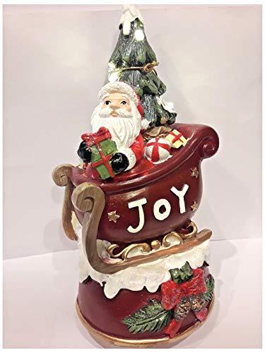 L'ANGOLO BARLETTA Albero Babbo Natale con Slitta, Luminoso con LED E Carillon, SONORO 23 cm ADDOBBI Decorazioni Regali