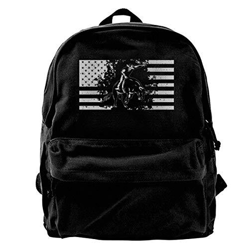 Unisex Canvas Blcak Backpack Shoulder Durable School Bag Bull Riding Flag