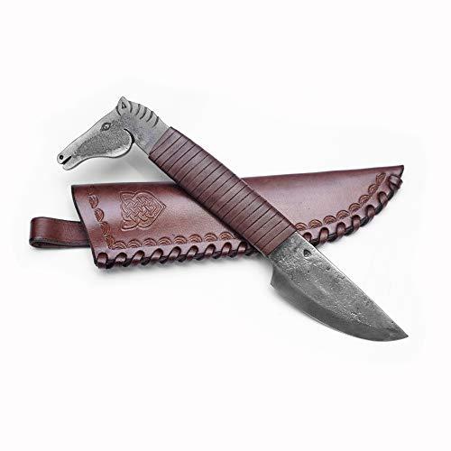 Handgeschmiedetes Federstahl Messer das Pferd Kopf & Spitze Klinge mit Echtledertasche in braun Farbe Kunst- & Kulturliebhaber - Gesamtlänge 24 cm - Originelles Geschenk