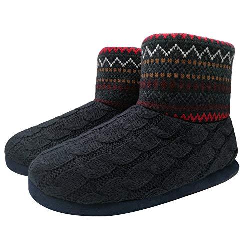 ONCAI Herren Stricken Künstliche Wolle Warme Indoor Hausschuhe Stiefel Rutschfest,Rot,44 EU (UK 10 US 11)