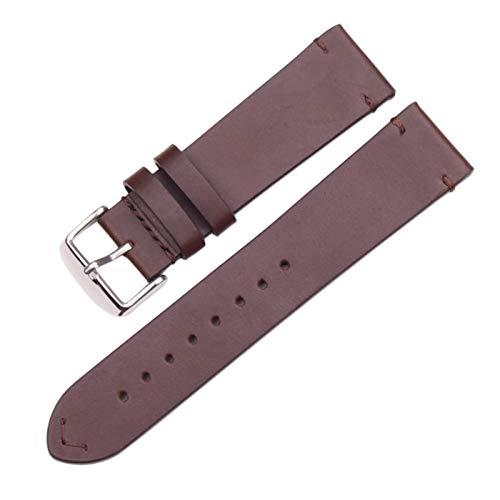 ZXF Correa Reloj, Correa de Cuero de la Vendimia Oscura marrón Suave Reloj con 18 mm 20 mm 22 mm Correa de Acero Inoxidable Hebilla (Band Color : Dark Brown Silver, Band Width : 18mm)