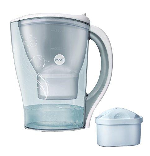 eldom DF100 Jarra de filtrado de agua con 1 cartucho, Filtro de Agua que reduce la cal y el cloro, Jarra de Agua Filtrada para un sabor excelente, 2,5 litros