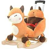 Schaukelpferd Schaukeltier Kinder Baby Trojan Baby Mit Musik Schaukelstuhl Baby Spielzeug Mit Schubstange Schaukel Wiegen 60 * 28 * 60 cm Rollsnownow -