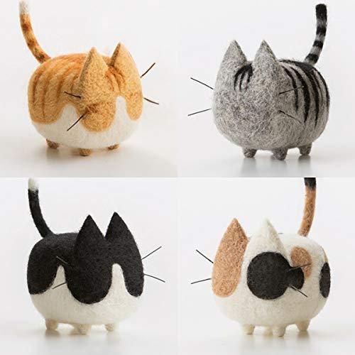 Truslin - DIY Needle Felting Kit with Gift Box Faceless Cat - Pastoral Cat, American Shorthair, Japanese Bobtails and Tuxedo Cat - 4 in 1 Kit