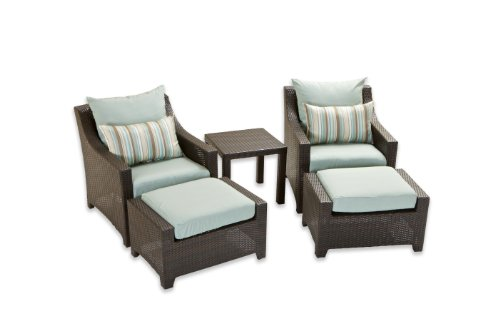 Hot Sale RST Outdoor OP-PECLB5-BLS-K Bliss 5-Piece Club Chairs and Ottomans Set