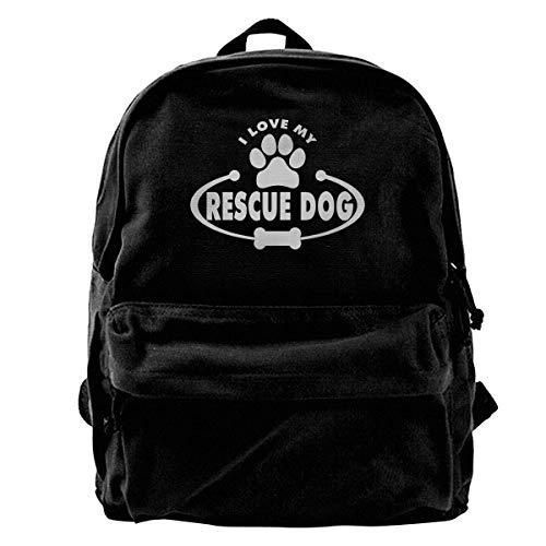 Rucksack Ich Liebe Meinen Rettungshund Leinwand Rucksack Männer Buch Geschenk Reiserucksack Laptop Rucksack Shoulder Taschen Geburtstag Einzigartige Frauen Casual School Daypack P