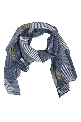 Zwillingsherz Seiden-Tuch im modernen Design - Hochwertiger Schal für Damen Mädchen - Halstuch - Umschlagstuch - Loop - weicher Schlauchschal für Frühjahr Sommer Herbst und Winter - blau