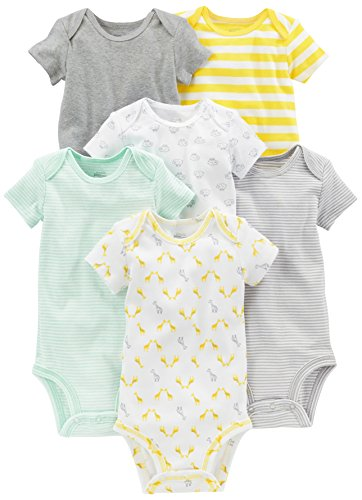 Simple Joys by Carter's Baby 6-Pack Neutral Short-Sleeve Bodysuit, Gray/Yellow, 3-6 Months
