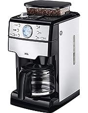 AEG KAM 400 koffiezetapparaat, geïntegreerde molen, 9 maalgradeninstellingen, programmeerbare timer, koffiepoeder of koffiebonen, aroma-functie, 1,25 l, veiligheidsuitschakeling, roestvrij staal/zwart