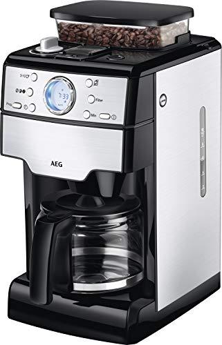 AEG KAM 400 Kaffeemaschine / integriertes Mahlwerk / 9 Mahlgradeinstellungen / programmierbarer Timer / Kaffeepulver, Kaffeebohnen / Aroma / 1,25 l / Sicherheitsabschaltung / Edelstahl / schwarz