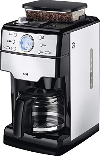 AEG KAM 400 Independiente - Cafetera (Independiente, Cafetera de filtro, 1,25 L, Molinillo integrado, 1000 W, Negro, Acero inoxidable)