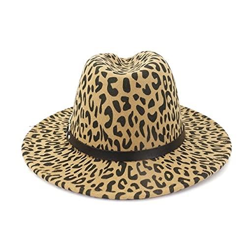 Shihuawu Cinturn Plano Superior Femenino Elegante Sombrero de Fieltro otoo e Invierno Casual Personalidad de Moda Chica Jazz Sombrero -04-55-58cm-G0130