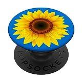 Sunflower Decor Girasol yellow Sun Flower Blue Background PopSockets PopGrip: Impugnatura per Telefoni Cellulari e Tablet Intercambiabile