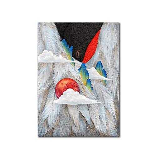 XIANGPEIFBH Drucken Leinwand Malerei Traditionelle Berg Fremde Kunst Sonnenaufgang Abstraktes Poster Landschaft Wandbild für Wohnzimmer 30x50 cm / 11,8