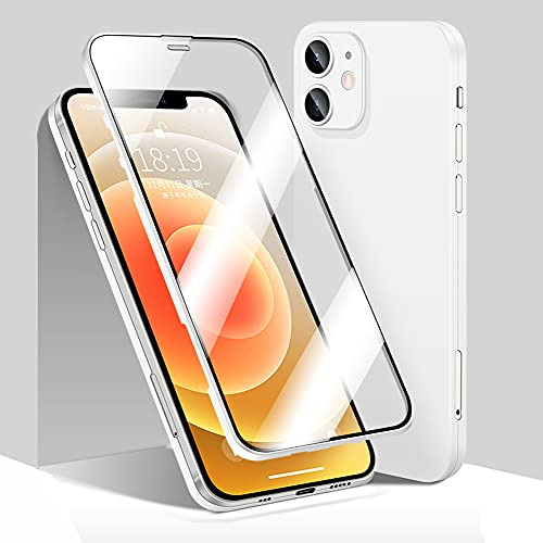 YTT Compatible with iPhone 12 360° Full Body Case, Case for iPhone 12 Ultra Slim with Built-in Tempered Glass Screen Protector, Ultra-Thin Thickness is only 0.33mm, Full Body Protective Cover (White)
