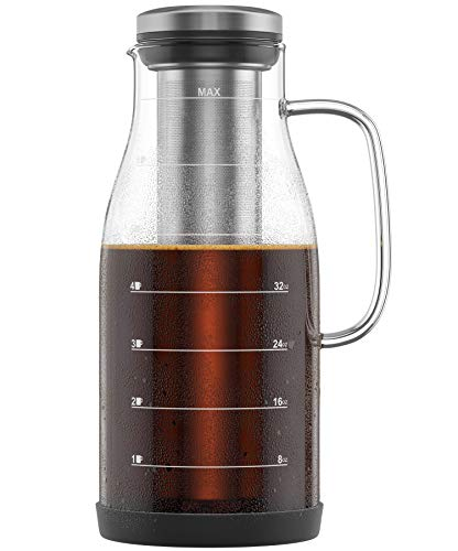 Great Deal! Cold Brew Coffee Maker 48oz Measured Glass With Handle And Spout - Iced Coffee And Tea M...