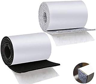 Pulluo Cinta Fieltro Adhesivo Antideslizante 2 Rollos Protector de Fieltro Muebles Cortable Antideslizante para Protección Muebles Madera Piso Mesa Silla Cama Armario 100CM x 9.2 CM x 3MM Negro Gris